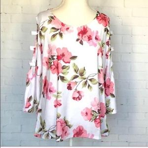 Tops - Floral Cut-Out Long Sleeve Top SZ XL
